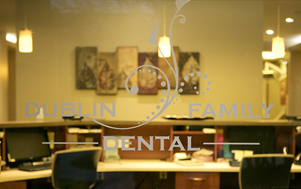 Front desk and logo of Dublin Family Dental, in Dublin, CA